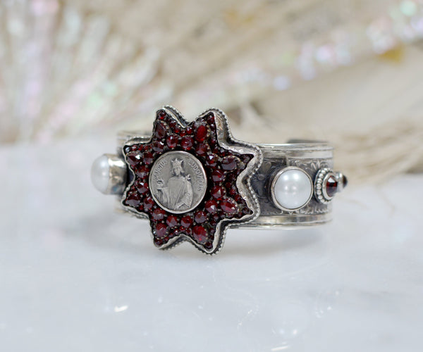 19 th. C. Bohemian Garnet Star Cuff with Sacred Heart
