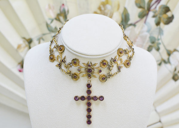 Amethyst Cross Choker