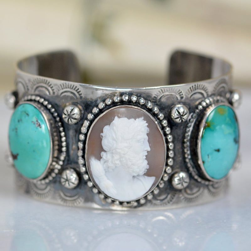 19 th. C. Venetian Cameo Depicting Zeus Cuff with Turquoise