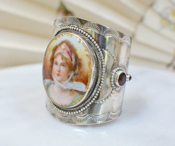 19 th. C. Porcelain Josephine Bonaparte Portrait and Garnet Cuff Bracelet