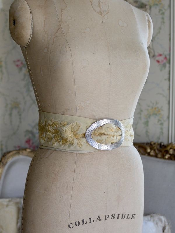 Sterling Silver & Golden Wheat Mucha Belt