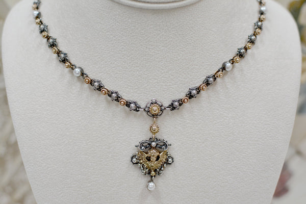 Gold, Silver and Pearl Angel Drop Necklace