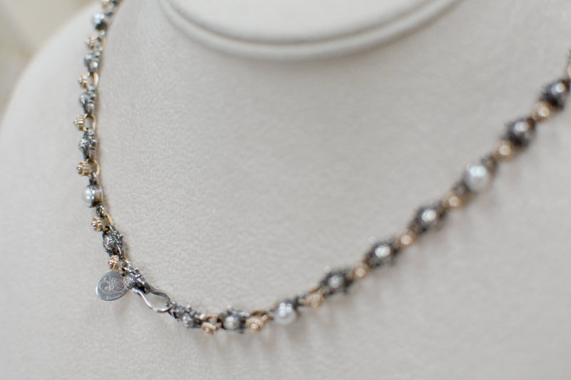 Celestial Angels Drop Necklace in 14 kt. Gold and Silver with Freshwater Pearls