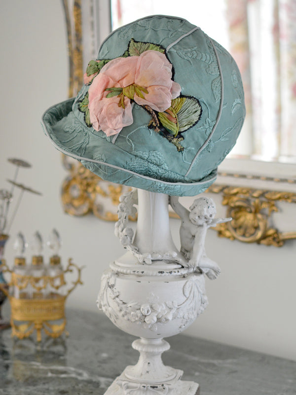 Green & Pink Rose Applique Cloche Hat