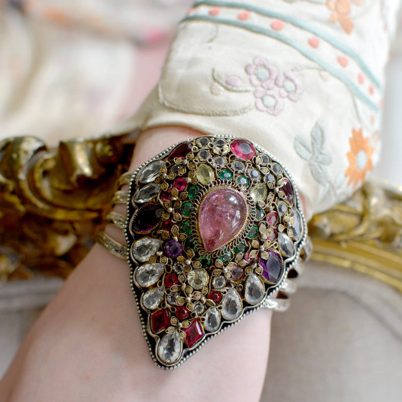Rare Antique Pierre Hobe' Natural Pink Tourmaline Pear Cuff Bracelet