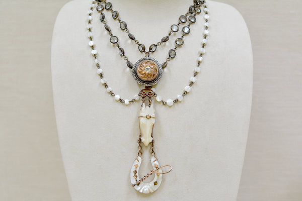 Mother-of-Pearl Horse Shoe Love Token Necklace