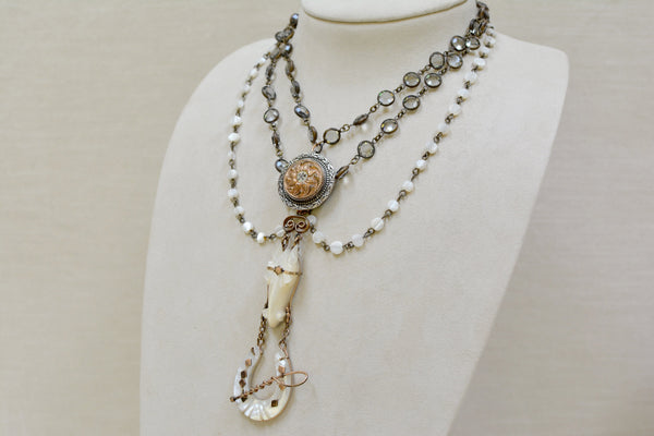 Rare 19 th. C. Mother-of-Pearl Horse Shoe Fob Festoon Necklace