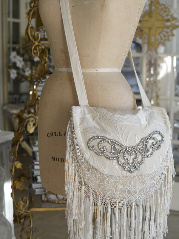 Ivory Jeweled Grace Shoulder Bag