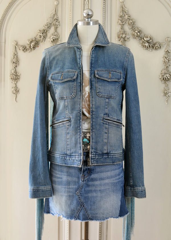 JADE FRINGE DENIM JACKET-103-529