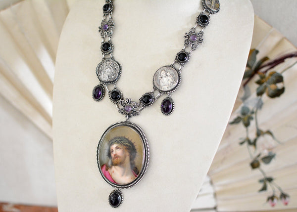 Amethyst Portrait of Christ Necklace