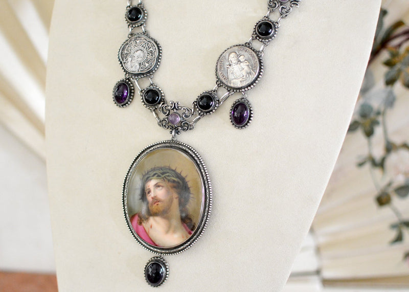 Early 19 th. C. Signed Italian Portrait of Christ Necklace with Amethyst