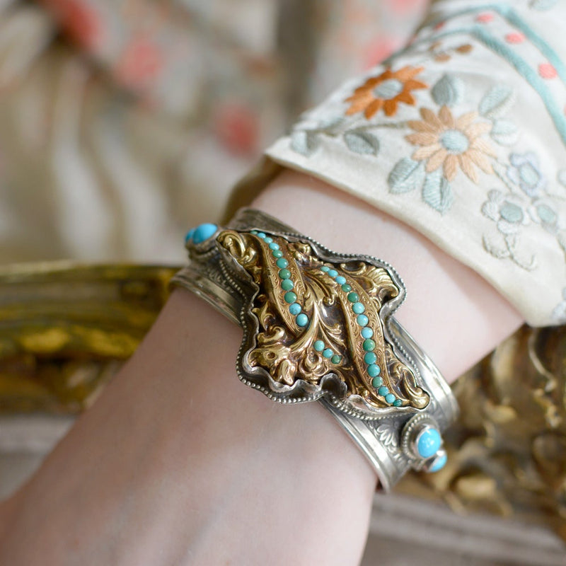Antique Georgian Persian Turquoise in Gold and Silver Cuff Bracelet
