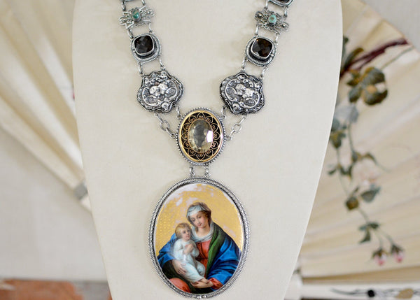 Mother Mary Portrait Necklace