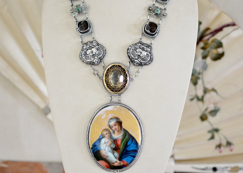 Early 19 th. C. Gilded Portrait of Mary with Christ Necklace