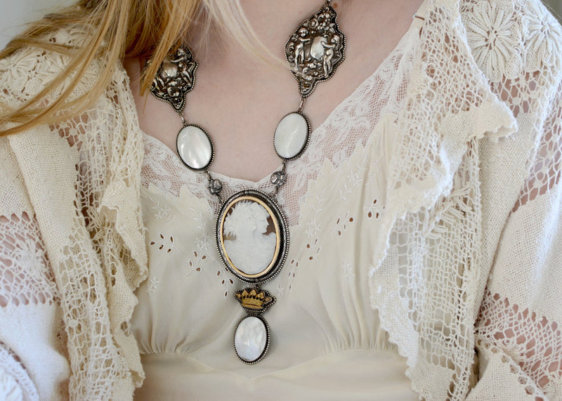 Antique 19 th. C. Venetian Night & Day Goddesses Necklace with Mother-of-Pearl