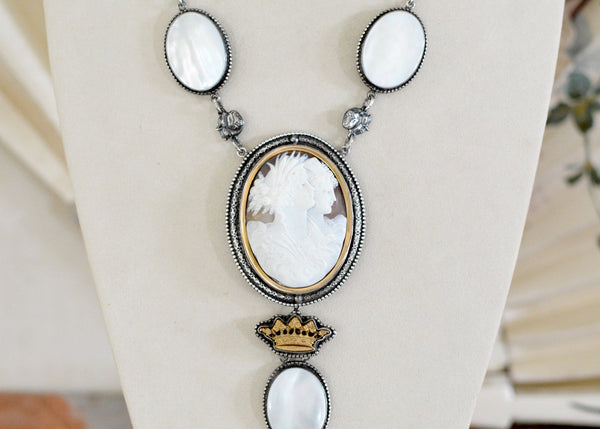 Repousse Cameo Drop Necklace