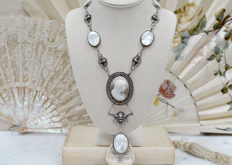 Saint Mary Cameo Drop Necklace with Mother of Pearl