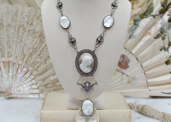 Antique Venetian Saint Mary Cameo Lingerie Necklace with Mother-of-Pearl