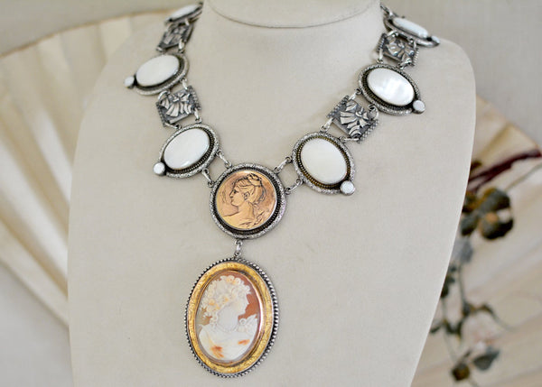 Goddess Cameo and Mother-of-Pearl Drop Necklace