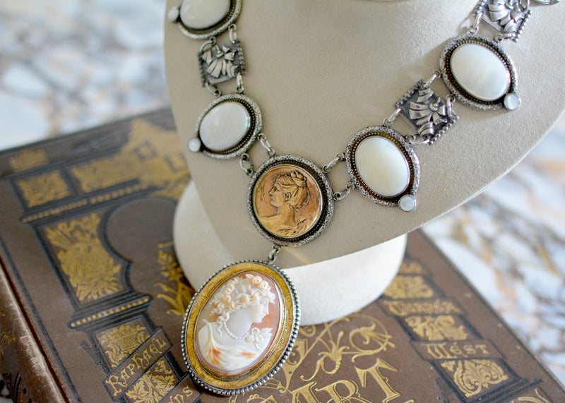 19 th. c. Goddess Cameo with Mother-of-Pearl Drop Necklace