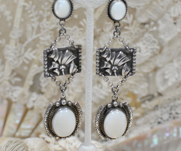 Sterling Silver Repousse' Relief with Mother of Pearl Drop Earrings
