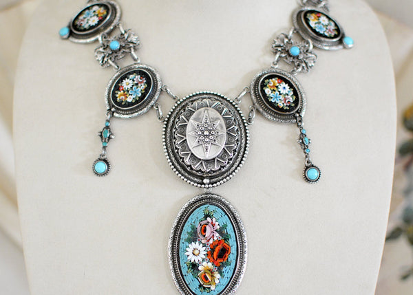 Turquoise Micro-Mosaic Drop Necklace