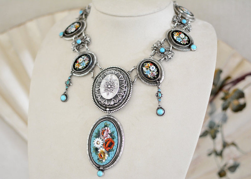 19 th. C. Venetian Tesserae Micro Mosaic Festoon Necklace with English Star and Turquoise