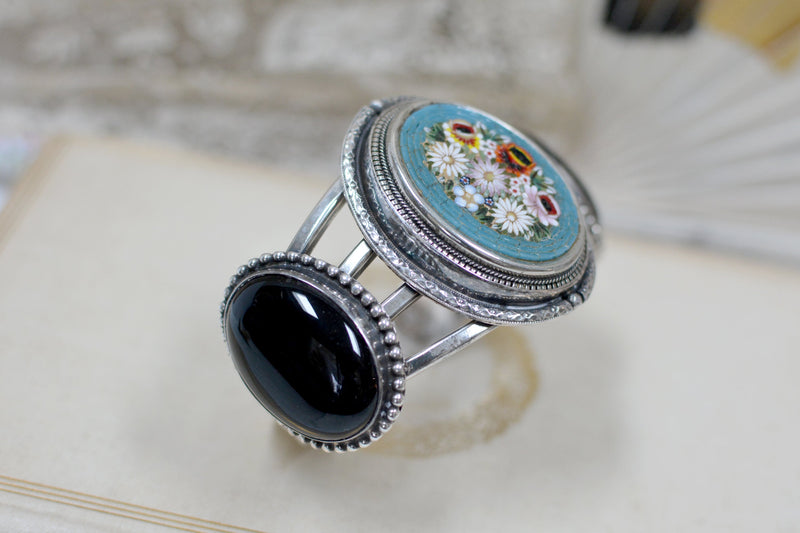 19 th. C. Venetian Floral Micro Mosaic Cuff with Onyx