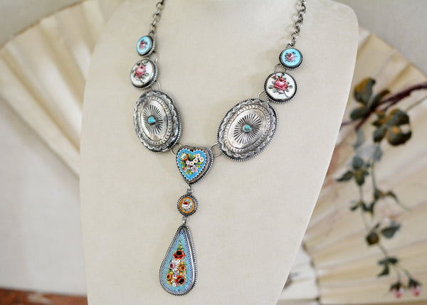 Turquoise Micro-Mosaic Concho Drop Necklace
