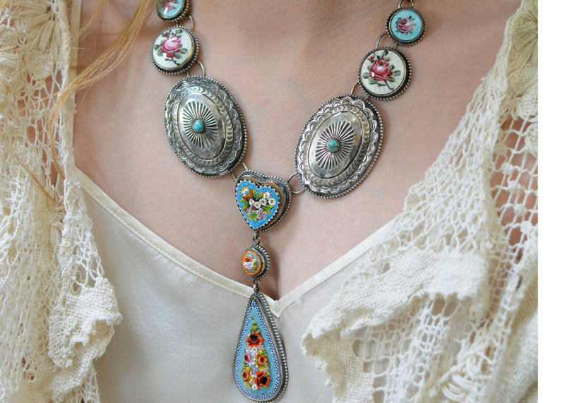 19 th. C. Venetian Grand Tour Micro Mosaic Lingerie Necklace with French Enamel