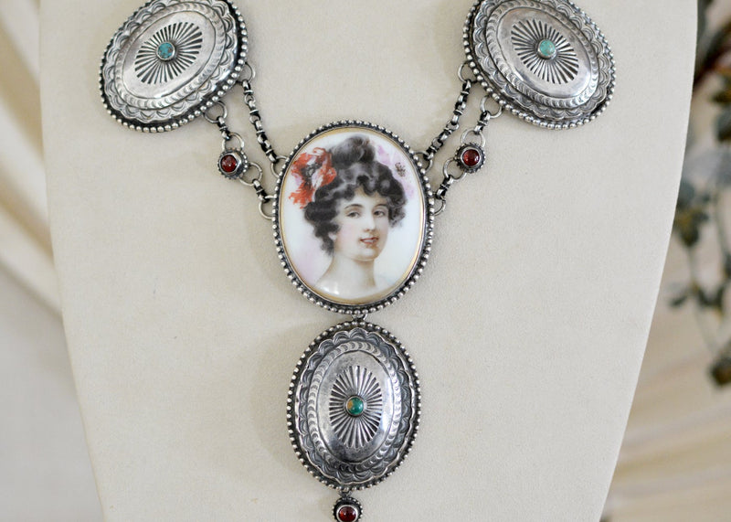 19 th. C. Art Nouveau Goddess Festoon Necklace with Garnets and Turquoise