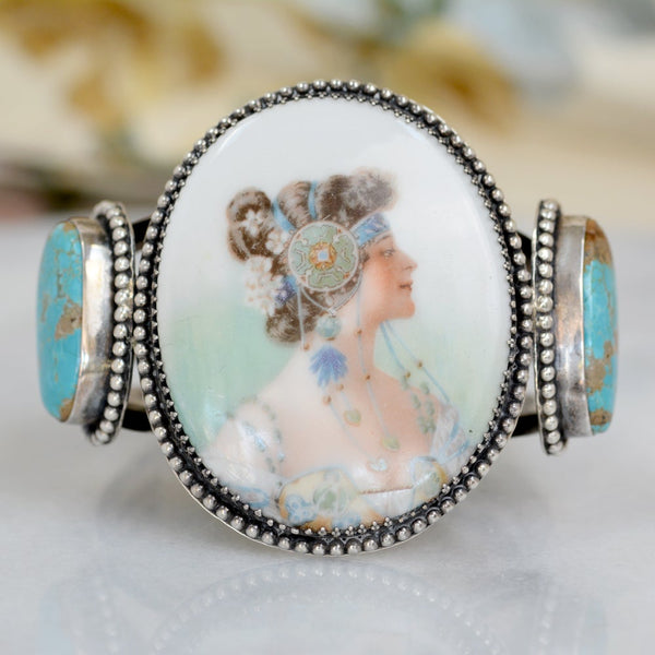 Rare 19 th. C Art Nouveau Porcelain Goddess Cuff with Turquoise