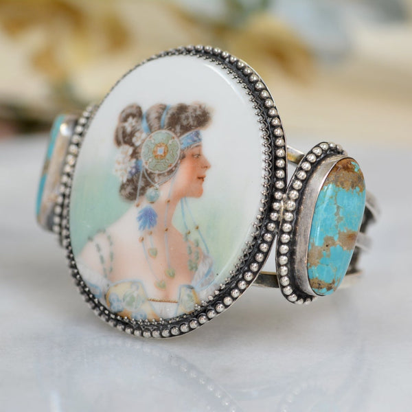 19 th. C Art Nouveau Porcelain Mucha Goddess Cuff with Turquoise