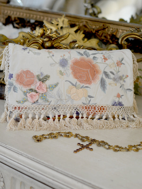 Peach Ribbon Daisy Clutch