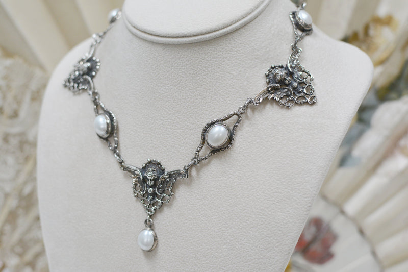 Jill Garber Collection Drop Necklace with Freshwater Pearls and Figural Angels
