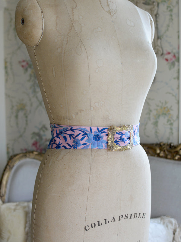 Sterling Silver & Rose Pink with Denim Blue Mucha Belt
