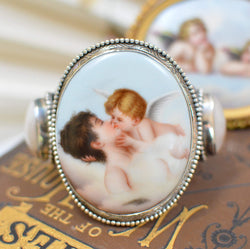 19 th. C. French Porcelain of Psyche - Cupids Kiss Cuff Bracelet