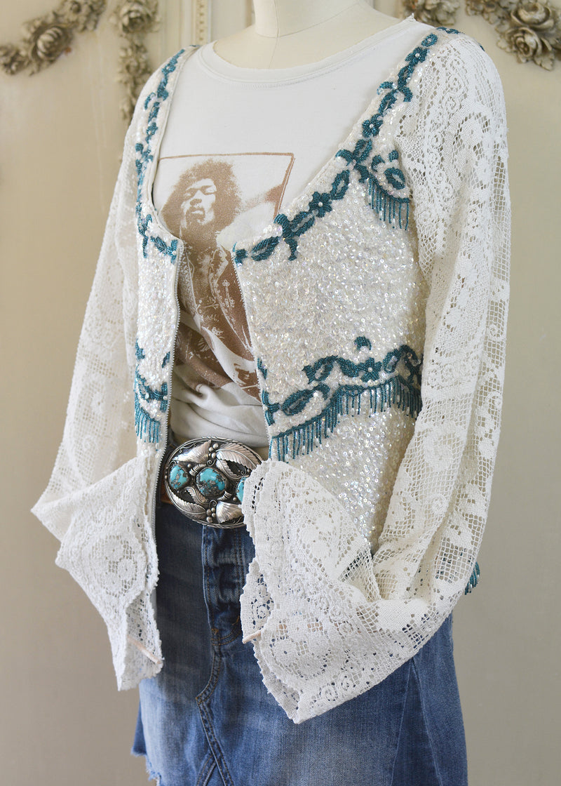RUBY BEADED & SEQUIN JACKET-107-5201