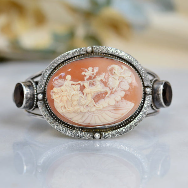 19 th. C. Chariot of Angels Venetian Cameo Cuff with Topaz