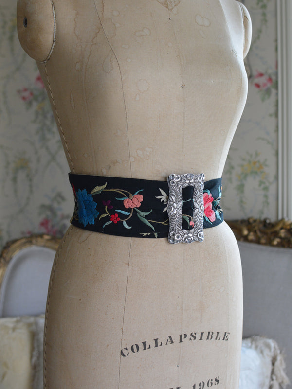 Sterling Silver & Multi Floral Black Mucha Belt