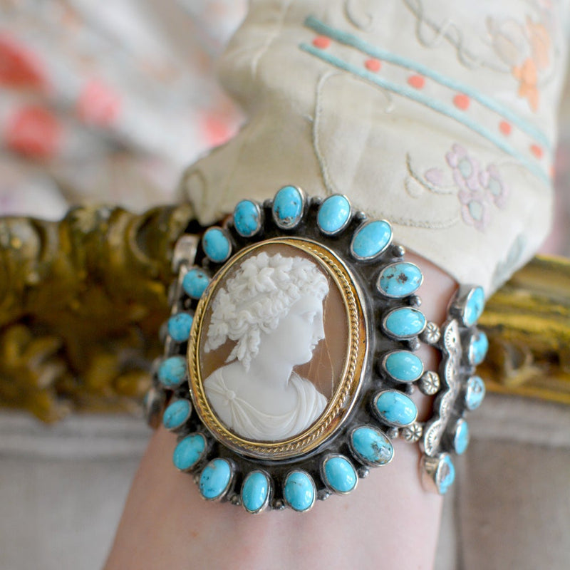 Carved Goddess Cameo with Turquoise Cuff Bracelet