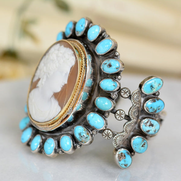 19 th. C. Roman Goddess Cameo with Sleeping Beauty Turquoise Cuff