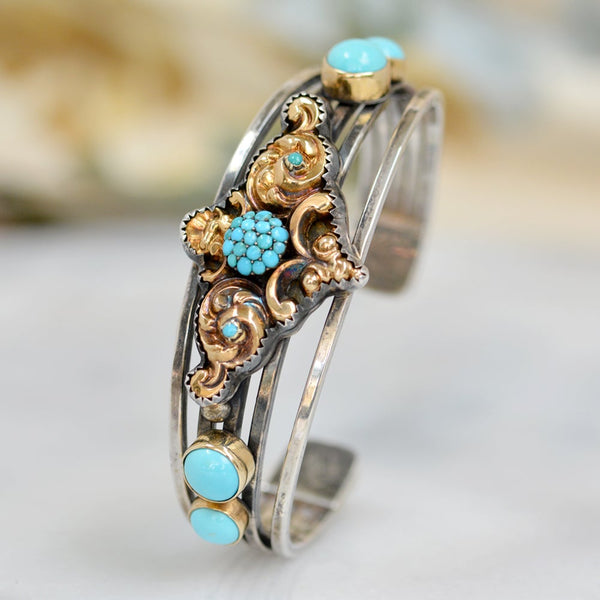 Antique Georgian Persian Turquoise in 14 kt. Gold and Silver Cuff Bracelet
