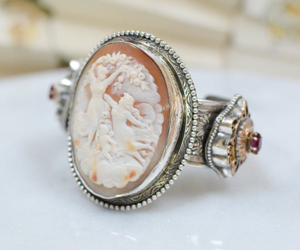Goddess and Cherub Cameo Cuff Bracelet