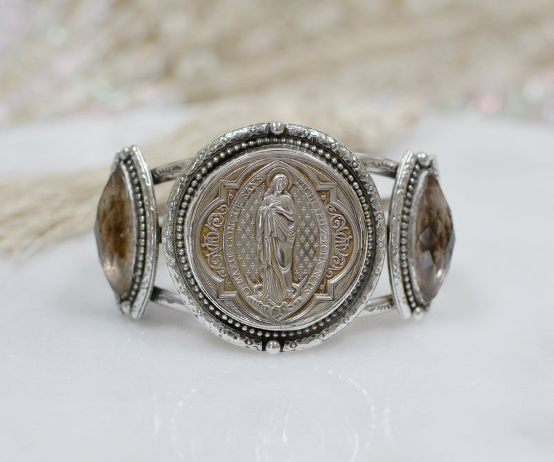 19 th. Century French St. Mary Sacred Heart Medallion Cuff with Topaz