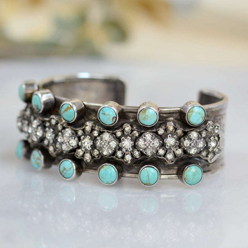 French Paste with Turquoise Cuff Bracelet