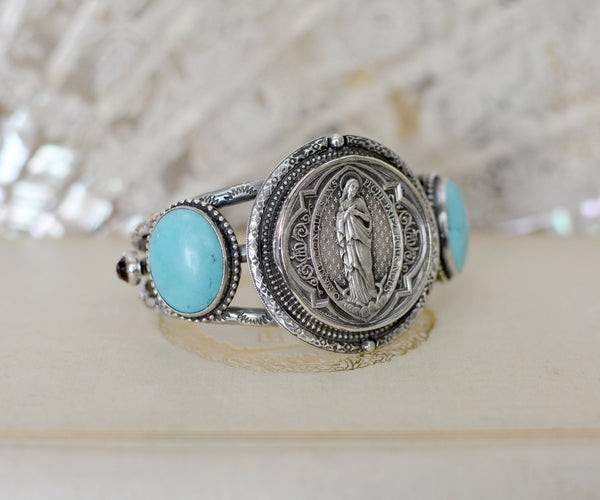 Antique French St. Mary Sacred Heart Medallion Cuff with Turquoise