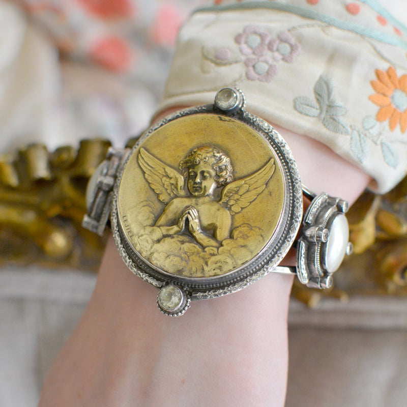 Early 19 th. C. French Gilded Gold Angel Medallion Cuff with Prasiolite and Mother-of-Pearl