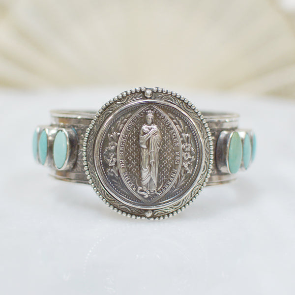 19 th. C. French Ludovic Penin Sacred Heart Medallion Cuff with Turquoise