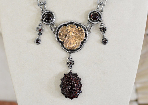 19 th. C. Victorian Bohemian Garnet Lingerie Necklace with Goddess Medallion